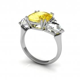 Кольцо с бриллиантом природного желтогоцвета